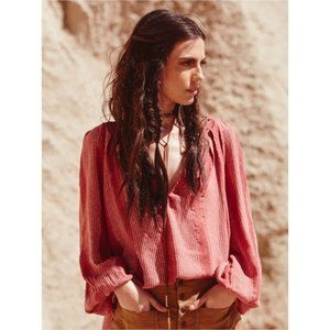 Free People V Neck LongSleeve Against All Odds Top